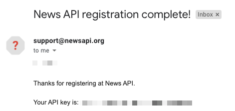 News API registration complete